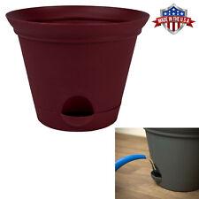 Salsa Red Plastic Self Watering Flower Pot Garden Planter 7, 9.5, or 11.5 Inch