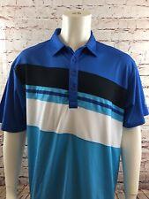 Sligo Golf Polo Shirt Blue White Black Teal Striped Men's Size XL