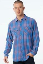 Rip Curl Mens 2xl Stanley Flannel Long Sleeve Shirt - Blue Red Check