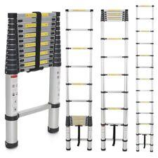 EN131 12.5ft Aluminum Telescopic Extension Ladder Tall Multi Purpose 330lbs 3.8m