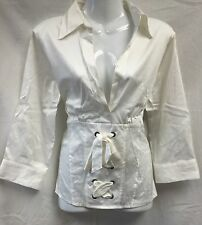 BNWT Ivory Tie Front Low Cut NEXT Shirt 3/4 Sleeve Size 14 (£30 on Tag)