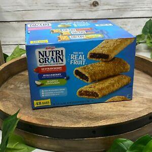 48 Count Box Kellogg's Nutri-Grain Fruit Breakfast Bars Variety Pack Soft Baked