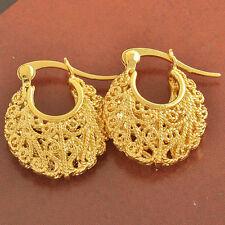 Awesome New 9K Yellow Gold Filled Fancy Scroll Basket Style 20mm Hoop Earrings