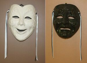 Pair of Wall Decor Clay Theatre Masks Comedy & Tragedy