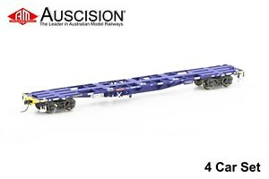 Auscision (NCW-36) NQKY Container Wagon, FreightCorp Blue & Yellow - 4 Car Pack
