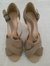 👠Wallis Beige Leather Glam Wedding/Party Shoes Size 5 Great Condition