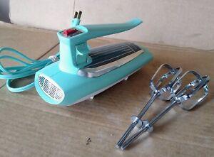 Vintage GE General Electric Atomic Turquoise Aqua Hand Mixer Model #30M47