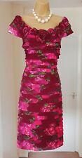 ADRIANNA PAPELL Designer Berry Pink Floral Summer Tea Party Midi Dress - Size 14