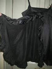 Crystelle 12 14 Black Satin Jungle Diva Split Back Long Top Lingerie Sleepwear