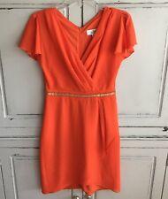 Belle Badgley Mischka Orange Cocktail Dress Size 2 Gold Trim Flutter Sleeves
