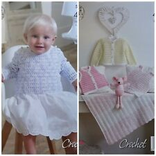 CROCHET PATTERN Baby Shawl Cardigan Dress Jumper & Waistcoat 4ply King Cole 5003