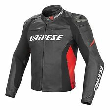 NEW Dainese Racing D1 Leather Jacket SIZE 58 Black/Black/Red