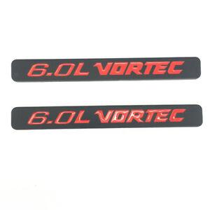 2pcs 6.0L VORTEC Emblems Badges Black Red Decals For Silverado 1500 2500HD Truck