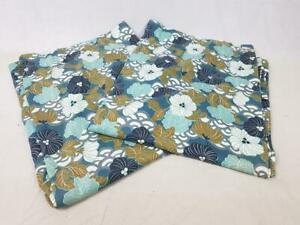 Pair Vintage 70's Curtains Teal Blue Floral Long 208cm Drop Mid-Century Retro
