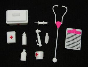"""LOT/10 BARBIE & KEN 11.5"""" Doll DOCTOR NURSE Hospital MEDICAL KIT Bag Stethoscope"""