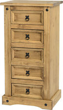 Seconique CORONA Distressed Mexican Pine 5 Drawer Narrow Chest