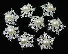 Wholesale 10x Faux Pearl Crystal Rhinestone Brooch Pin Bridal Bouquet Decor Gift