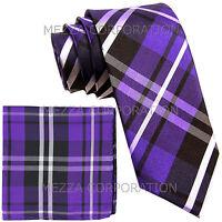 """New Men's Vesuvio Napoli plaid 2.5"""" skinny Neck Tie Necktie hankie set purple"""