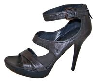 STUART WEITZMAN Gunmetal Leather Platform sandals  9.5 M New