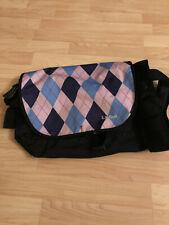 LL Bean Argyle Messenger Cross Body Shoulder Bag Pink Black Print Backpack