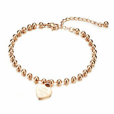 18K Rose Gold Plated Bracelet Beads Chain Lobster Clasp Adjustable G306