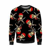 Gothic Unisex Pirate Skulls Guns Swords Skull Print Fleece Jumper Sweatshirt Top