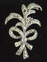 Sterling silver & marcasite vintage Art Deco antique floral brooch