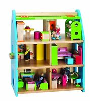 Santoys Wooden DOLL HOUSE Complete with Furniture and Dolls rrp £234.99 - New