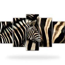 Zebra Afrika Tiere Bild Bilder Leinwand Wandbild Kunstdruck 5 Teilig