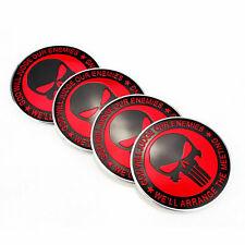 "4PCS 2.2"" 56mm Punisher Skull Universal WHEELS Center Hub Cap Emblems Stickers"