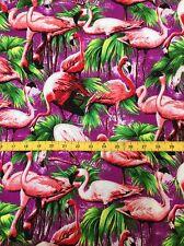"Purple & Pink Flamingo Print Fabric, Hawaiian, Retro,1 Metre, 44"", Rockabilly"