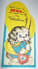 Vtg 1950s Puppy Dog Playing Tuba Horn Marching Children's Valentine's Day Card