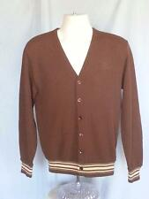 Vintage SEARS Kings Road Mens Cardigan Sweater size M Brown Tan Rib Acrylic 70s
