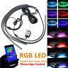 4PCS RGB LED Neon Car Tube Strip Light Underglow Underbody Music App Control Kit