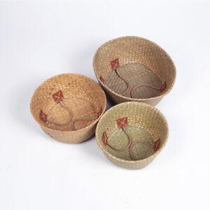Woven Storage Basket Handmade Rope Box Straw Boxs Round Organizer Set of 3 Sizes
