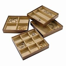 Stock Your Home Stackable Jewelry Trays Set of 4 with Dual Jewelry Organization,