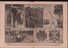 WWI Poilus Artilleurs Bombes Ailettes Torpille Torpedo Grenade 1915 ILLUSTRATION