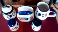 Vintage Table Top Set Salt Pepper Shakers Napkin Holder Sugar Creamer 1970's