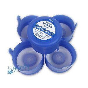 Lot of 5, 3 & 5 Gallon Water Bottle Snap On Cap Anti Splash 55mm Peel Off Tops