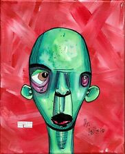 welcome anthead 8X10 canvas outsider folk art lowbrow urban graffiti painting