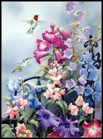 Hummingbird Summer Flower - DIY Chart Counted Cross Stitch Patterns Needlework