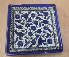 3 square plates (4), Armenian Ceramic, Made in Israel. 13 cm