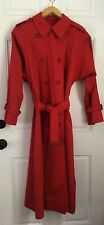 Red Burberry Double Breasted Trench Coat w/ Removable Wool Liner Womens Size 14