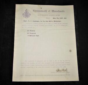 1903 Massachusetts Volunteer Militia Document ~ MVM ~ 9th Regiment ~ Uniforms