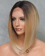 Women Lace Front Wig Straight Fashion Blonde Dark Roots Hair Piece 2T27-613 LBY