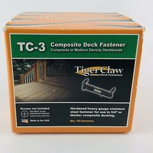 TC-3 Tiger Claw Stainless Steel Hidden Deck Fasteners TREX,Composite New (100)PK