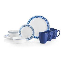 Corelle 16-pc Circles Tableware Set - Cobalt & White Server for 4 / FREE SHIPPIN