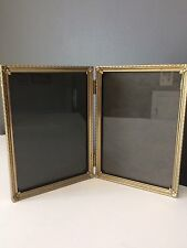 Vintage 5x7 Double Picture Frame Hinge Brass Colored Metal Two Photo