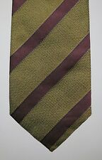 NWT Luciano Barbera Repp Striped Silk Tie Handmade Italy RARE Gold & Burgundy