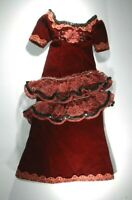 "Dark Red Velvet Dress with Lace, Beads, Sequins and Bloomers for 18"" Doll"